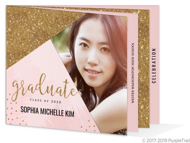 Modern pink faux gold glitter graduation booklet invitation modern pink faux gold glitter graduation booklet invitation filmwisefo