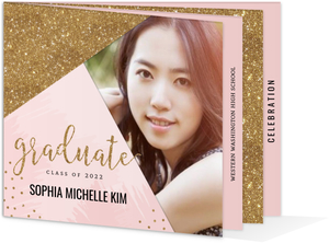 Modern Pink  Faux Gold Glitter Graduation Booklet Invitation