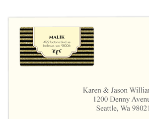 Gold Glitter Art Deco Address Label