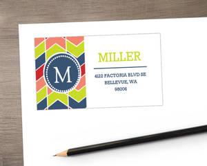 Vibrant Chevron Monogram Address Labels