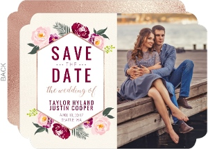 Boho Floral Wedding Save The Date Card