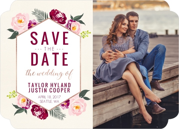Boho Floral Wedding Save The Date Card Save The Date Cards