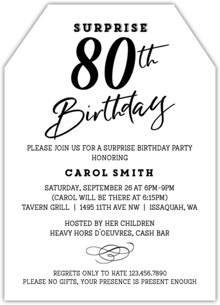Classic Tag Surprise 80th Birthday Invitation