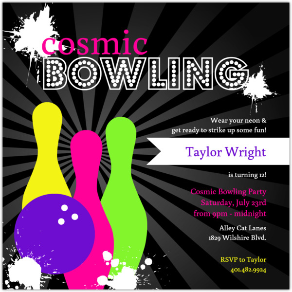 Neon Cosmic Night Out Bowling Birthday Invitation