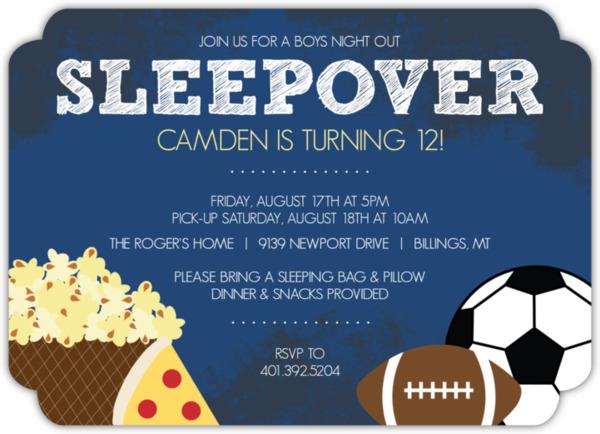 Boys Night Sports and Snacks Sleepover Party Invite Kids Birthday