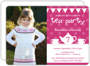 Whimsical Pink Tea Kettle Tea Party Invitation