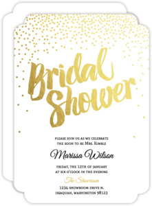 Elegant Gold Foil Confetti Bridal Shower Invitation