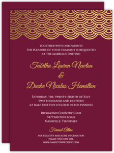 Elegant Red Wine Gold Foil Scallop Wedding Invitation