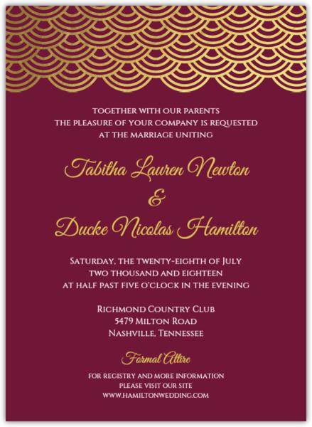 Elegant Red Wine Gold Foil Scallop Wedding Invitation