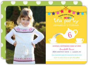 Cheerful Rainbow Tea Party Birthday Invitation