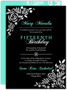 Black and Silver Foil Flourish Quinceanera Invite