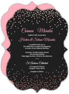 Rose Gold Foil Confetti Quinceanera Invitation