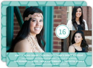 Turquoise Photo Celebration 16th Birthday Invitation