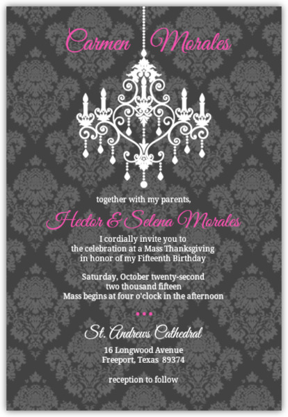 Gray and pink damask chandelier quinceanera invitation quinceanera gray and pink damask chandelier quinceanera invitation mozeypictures Image collections