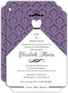 Quinceanera Invitations Custom Quince Invites Purpletrail