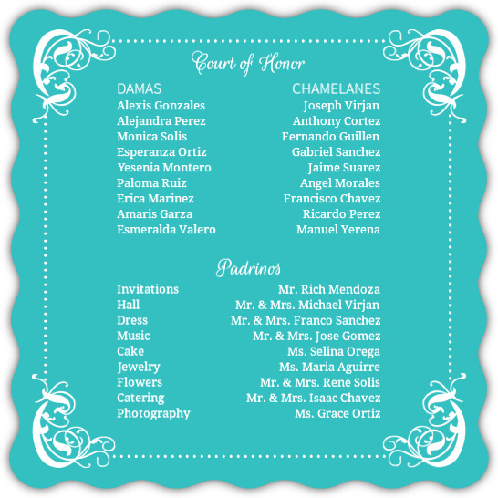 Turquoise Flourish Border Quinceanera Invitation