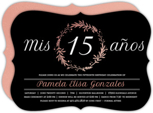 Rose Foil Quinceanera invitations