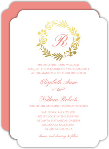 Classic Pink Gold Foil Wreath Wedding Invitation