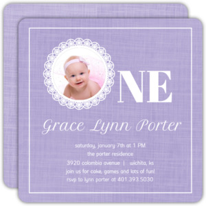 Simple Lavender Lace 1st Birthday Invitation