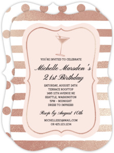 Faux Rose Gold Martini Birthday Party Invitation