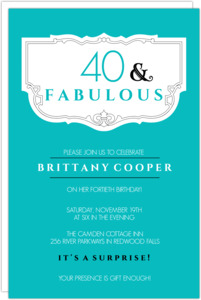 Teal And Fabulous 40Th Birthday Invitation