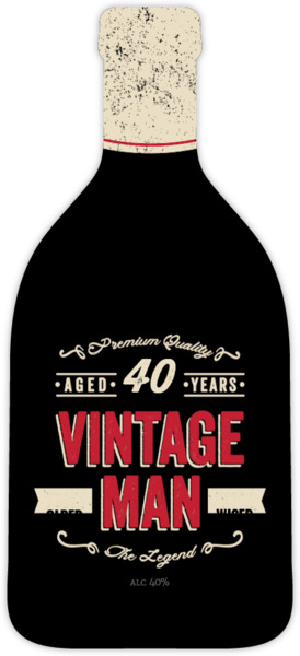 Vintage Man Bottle Adult Birthday Invitation