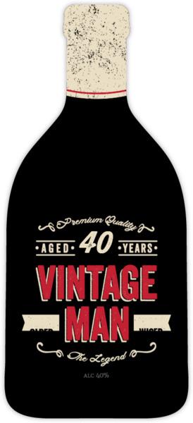Vintage Man Bottle Adult Birthday Invitation