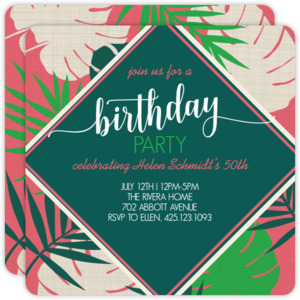 Bright Tropical Leaves Birthday Invitation