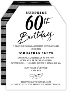 Surprise birthday party invitations classic tag surprise 60th birthday invitation filmwisefo Gallery