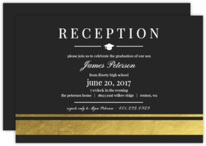 Goid Foil Elegant Stripes Graduation Enclosure Card