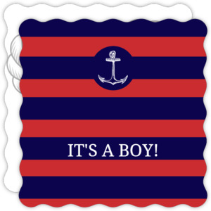 Nautical Navy Red Stripes Baby Boy Shower Invite