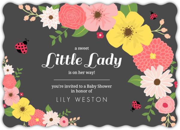 Floral pink and black ladybug baby shower invitation girl baby floral pink and black ladybug baby shower invitation filmwisefo