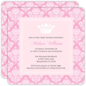 Pink Damask Girl Baby Shower Invitation