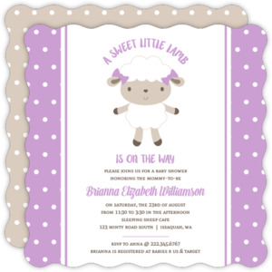 Purple Polkadot Sheep Baby Shower Invitation