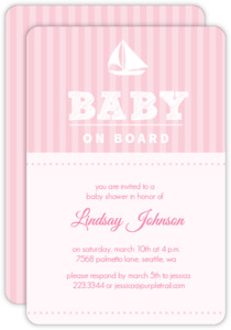 Striped Sail Boat Girls Baby Shower Invite