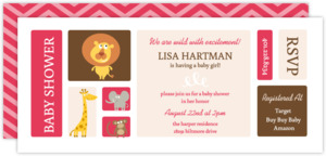 Pink And Brown Jungle Safari Baby Shower Invitation