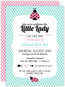 Bright Colors Gingham Ladybug Baby Shower Invitation