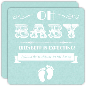 White and Teal Vintage Girl Baby Shower Invitation