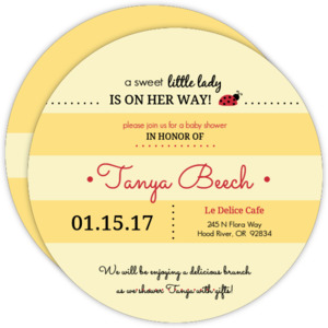 Yellow Striped Ladybug Baby Shower Invitation