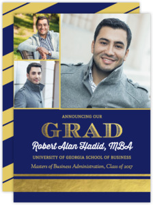 Navy and Gold Foil Stripe Graduate School Graduation Announcement