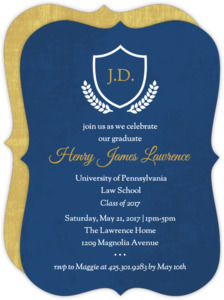 Navy and Gold Crest Law School Graduation Invitation
