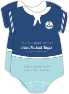 Cute Sailor Onesie Baby Photo Announcement