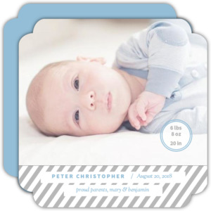 Simple Gray Stripes Circle Card Photo Baby Announcement