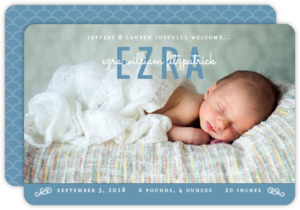 Modern Blue and White Photo Birth Announcement