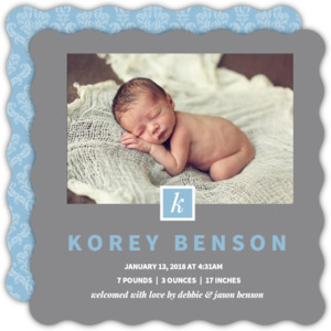 Dark Gray Monogram Photo Boy Baby Announcement