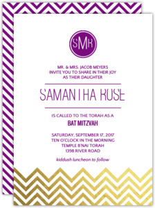 Modern Monogram Chevron Foil Bat Mitzvah Invitation Final