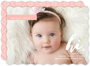 Pink Damask Beautiful Beginnings Baby Girl Announcements