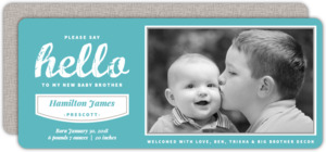 Linen Photo Sibling Baby Announcement