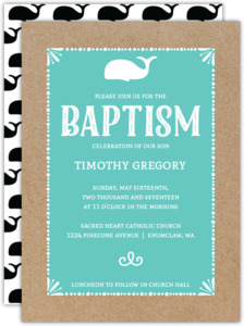 Baby Fox Baptism Invitation