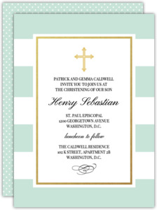Classic Stripe and Cross Christening Invitation